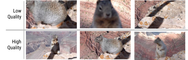 Sự khác biệt về chất lượng giữa các thời điểm khác nhau của hình nền trong cùng một đoạn video.